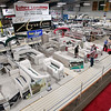 Record-Eagle/Jan-Michael Stump<br /> Visitors browse the Traverse City Boat and Outdoor Show Friday at the Grand Traverse Civic Center.