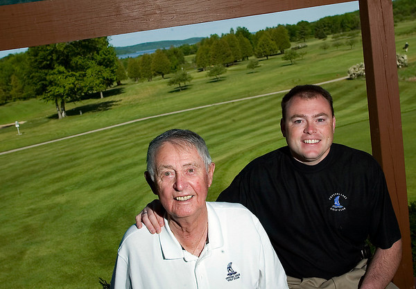 Record-Eagle/Jan-Michael Stump<br /> Arthur Keillor (cq) and his grandson Justin Keillor (cq) are first and third generation owners of Crystal Lake Golf Club in Beulah.