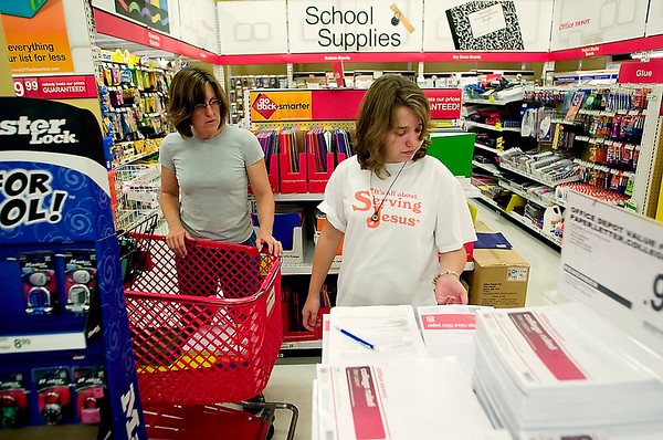 Record-Eagle photo/Jan-Michael Stump<br /> Beth Baillie and her daughter Ivy Baillie, 12, shop for school supplies at Office Depot on Monday afternoon. Ivy will be an eighth-grader at Grand Traverse Academy this fall.