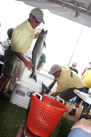 Record-Eagle file photo/Douglas Tesner<br /> The Big Jon Salmon Classic will be held this weekend on Grand Traverse Bay. The ladies tournament will be held Thursday with the Pro, Amateur and Sweet 16 on Saturday and Sunday. The weigh-ins will be at the Holiday Inn each day.