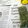 Record-Eagle photo/Jan-Michael Stump<br /> Informational papers and cannabis products used for medicinial purposes sit on the counter of Archie Kiel's Kalkaska County home.