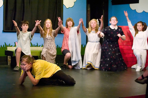 "Record-Eagle photo/Jan-Michael Stump<br /> Kelsey King (Charlie Brown) rehearses with other cast members for ""You're a Good Man, Charlie Brown,"" by the Traverse City Children/Teen Theatre Advanced Musical Theatre Workshop at the Old Town Playhouse."