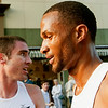 Record-Eagle/Douglas Tesner<br /> Rondell Ruff, right, came in first in the film festivals Stars of the Mile race. Mike Hanlon, left, finished second.
