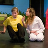 "Record-Eagle photo/Jan-Michael Stump<br /> Kelsey King (Charlie Brown) and Sage DeAgro-Ruopp (Snoopy) rehearse for ""You're a Good Man, Charlie Brown,"" by the Traverse City Children/Teen Theatre Advanced Musical Theatre Workshop at the Old Town Playhouse."