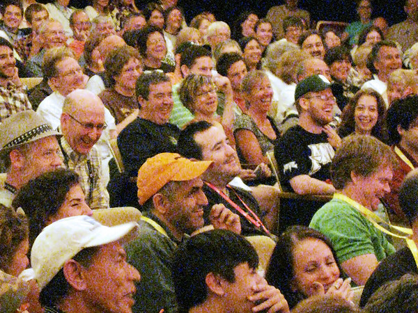 Record-Eagle/Jodee Taylor<br /> The audience laughs during the comedy discussion panel at the City Opera House Saturday.