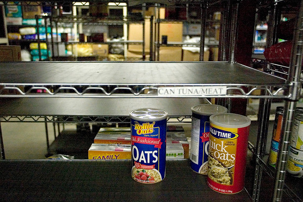 "Record-Eagle photo/Jan-Michael Stump<br />  The food pantry at the Goodwill Inn is critically low levels, even after 8,000 pounds of donated food items in May, after a 242 percent increase in requests for assistance. ""It's slim-to-none pickings,"" said director of marketing Ruth Blick."
