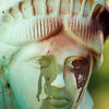 Record-Eagle photo/Jan-Michael Stump<br /> Vandals sprayed paint on the Statue of Liberty reproduction outside the Kalkaska home of Ron and Jean Davis.