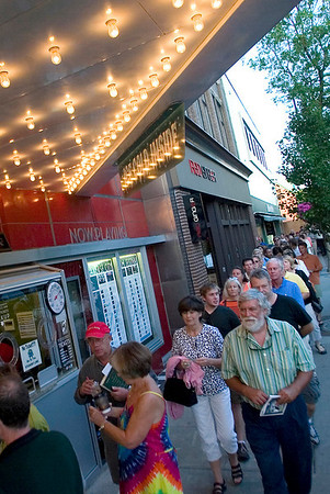 "Record-Eagle photo/Jan-Michael Stump<br /> People line up outside the State Theatre to see ""Woodstock"" on Wednesday evening during the Traverse City Film Festival."
