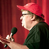"Record-Eagle/Douglas Tesner<br /> Michael Moore lets fans know that ""Mike's Surprise"" would not be his new movie but would be ""Blood in the Face."""