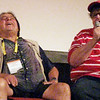 Record-Eagle/Jodee Taylor<br /> Paul Mazursky, left, laughs while Michael Moore recounts a story during Saturday's panel discussion on comedy at the Traverse City Film Festival.