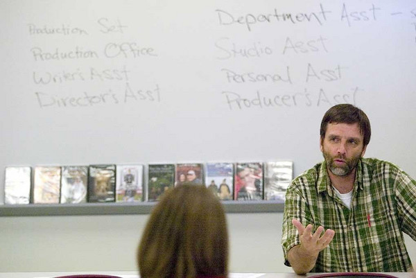 Record-Eagle/Jan-Michael Stump<br /> Filmmaker Rich Brauer teaches a film production assistant boot camp at Northwestern Michigan College. The four-day course gives students the basics for working on a professional film set.
