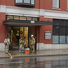 Record-Eagle/Keith King<br /> Traverse City firefighters responded to Espresso Bay downtown on Thursday after a portable vacuum caught fire. Workers there use the vacuum to suck up excess smoke, City Fire Chief Jim Tuller said, and a spark ignited its contents. No one was injured.