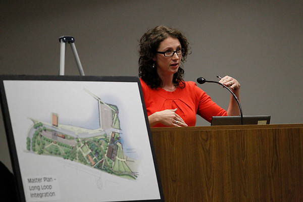 "Record-Eagle/Jan-Michael Stump<br /> Lori Singleton, of Hamilton Anderson, describes the Spirit of Traverse City train as being ""problematic"" in relation to proposed bayfront changes."