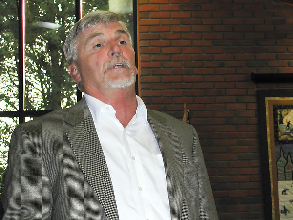 Record-Eagle file photo/Sheri McWhirter<br /> Patrick Crosson, project manager for Axiom Entertainment, answers questions from the public during a public hearing at Grayling Township Hall.