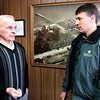 Record-Eagle/Douglas Tesner<br /> Ron Prentice, left, president and general manager of Cherry Growers Inc., talks with Kevin Ringwelski, director of environmental services for Gosling Czubak Engineering Sciences Inc., about a pilot program to treat their wastewater.