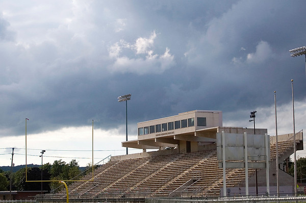 Record-Eagle file photo/Jan-Michael Stump<br /> Thirlby Field is slated to receive artificial turf prior to next year's football season. The stadium's uses could expand with the new surface.