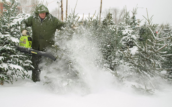 Record-Eagle/Jan-Michael Stump<br /> Ray Park, owner of Ray's Tree Lot on Hall Street in Traverse City, uses a leaf blower to clear fresh snow from trees on Thursday morning.