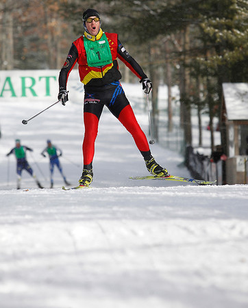 Record-Eagle/Jan-Michael Stump<br /> Men's 48K freestyle winner Eli Brown (1) holds off the competition to win the Vasa on Saturday at Timber Ridge.