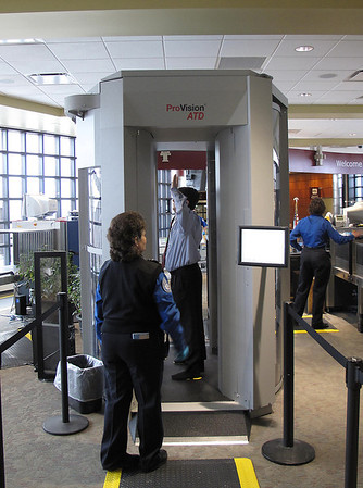 Record-Eagle file photo/Art Bukowski<br /> Security officials demonstrate a new imaging system at Cherry Capital Airport.