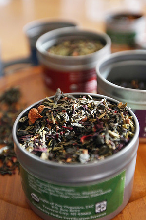 Record-Eagle/Keith King<br /> A variety of organic teas are set on a table at Light of Day Organic Teas in Traverse City.