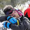 Record-Eagle/Jan-Michael Stump<br /> Women's 24k winner Amy Kostrzwa celebrates with her husband, Ken Roth at Saturday's North American Vasa.