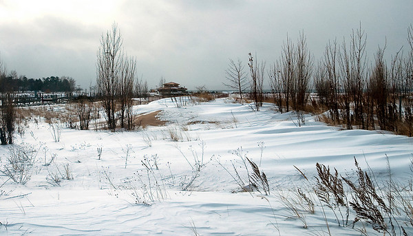 Record-Eagle/Douglas Tesner<br /> Elk Rapids harbor officials pitched an idea to build a new parking lot on a sandy area between the marina and Dam Beach. Some locals call it a dune area and object to the area being paved over.