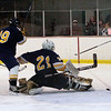 Record-Eagle/Douglas Tesner<br /> Cadillac goalie Mike Boike watches as the puck slides past the goal.
