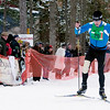 Record-Eagle/Douglas Tesner<br /> Andy Liebner crosses the finish line to win the men's 50K freestyle cross country ski race Saturday.