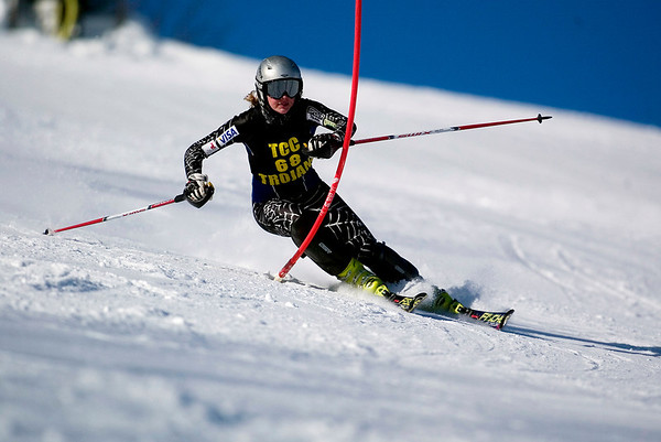 Record-Eagle/Jan-Michael Stump<br /> Traverse City Central's Maddie McLachlan won the slalom and GS in the Titan Invite Thursday at Crystal Mountain.
