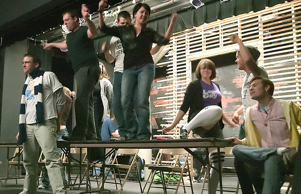 "Record-Eagle/Douglas Tesner<br /> Cast members rehearse for the Old Town Playhouse musical ""Rent."""