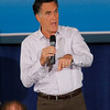 Record-Eagle/Jan-Michael Stump<br /> At the Park Place Hotel, presidential hopeful Mitt Romney as he speaks to supporters Sunday afternoon. He told of stealing his first kiss with his wife, Ann, in Manistee.