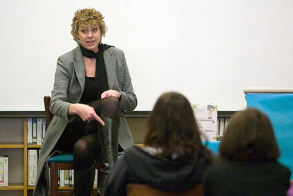 """Record-Eagle/Jan-Michael Stump<br /> Author Rhoda Janzen speaks to students in the library at Traverse City Central about writing, her life and her memoir, """"Mennonite in a Little Black Dress."""" Janzen is in Traverse City for the Traverse City National Writers Series."""