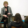 "Record-Eagle/Jan-Michael Stump<br /> Author Rhoda Janzen speaks to students in the library at Traverse City Central about writing, her life and her memoir, ""Mennonite in a Little Black Dress."" Janzen is in Traverse City for the Traverse City National Writers Series."