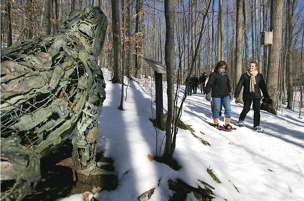 Record-Eagle/Keith King<br /> Melynn Jenner, left, and Darlene Brunetti, both of Traverse City, walk near a sculpture by local artist Bill Allen, as they travel through the Michigan Legacy Art Park in Thompsonville on Saturday during the fifth annual Snowshoe d'Art.
