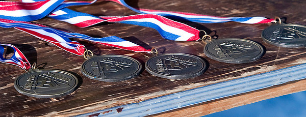 Record-Eagle/Douglas Tesner<br /> Medals await the finishers of Saturday's 34th White Pine Stampede 40K Race.