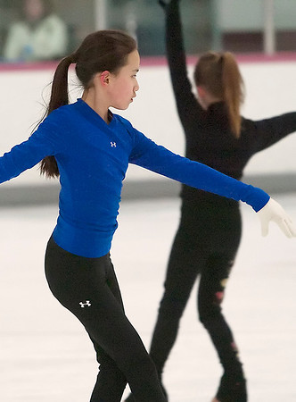 Record-Eagle/Douglas Tesner<br /> Niki Roxbury, 11, works on her skating skills at Center ICE.