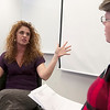 Record-Eagle/Douglas Tesner<br /> Sherry Taylor, left, and Betsy Rees roleplay a business interview for students at Business Camp for job seekers. More than 45 people, twice last year's number, attended this year's Business Camp, offered through the Traverse City Area Chamber of Commerce at Northwestern Michigan College's University Center.