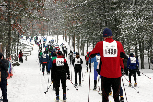 Record-Eagle file photo/Douglas Tesner<br /> Skiers take off at the start of the 2008 Vasa race.
