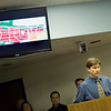 Record-Eagle/Jan-Michael Stump<br /> Traverse City city planner Russ Soyring talks about a proposal to amend an ordinance to prevent new driveways in the city's C-4, or Warehouse, District at the City Commission meeting Monday night at the Governmental Center.