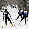 Record-Eagle/Douglas Tesner<br /> 27K freestyle skiers head down the trail as they take part in the North American Vasa cross-country ski race at Timber Ridge Resort near Traverse City.