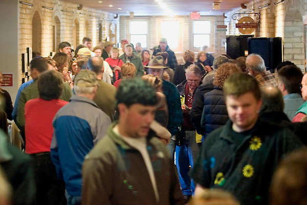 Record-Eagle/Jan-Michael Stump<br /> Crowds fill the Mercato of the Village at Grand Traverse Commons during The Great Indoor Folk Festival Saturday afternoon.