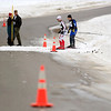 Record-Eagle/Jan-Michael Stump<br /> Skiers travel cross a road between Mancelona and Bellaire in the 40k White Pine Stampede cross country ski race Saturday morning at Mancelona High School.