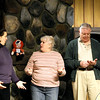 "Record-Eagle/Keith King<br /> Carly McCall, left, playing the part of Chelsea Thayer Wayne; Betsy Willis, center, playing Ethel Thayer; and John Dew, as Norman Thayer, rehearse a scene from ""On Golden Pond"" at the Old Town Playhouse."