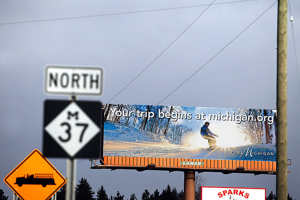 Record-Eagle/Jan-Michael Stump<br /> A Pure Michigan advertisement sits along M-37 in Mesick, part of a winter tourism campaign kicking off in several regions.