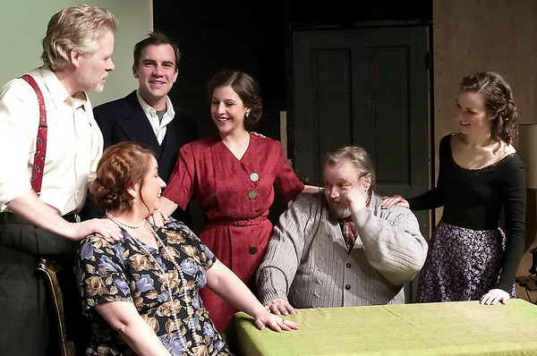 "Cast members of the Old Town Playhouse production ""You Can't Take It With You"" rehearse their lines.  Cast members include, seated from left, Maria McKane and Phil Murphy; standing from left, Jan Dalton, Michael Kania, Ella Bole, and Esmé Bloomquist."