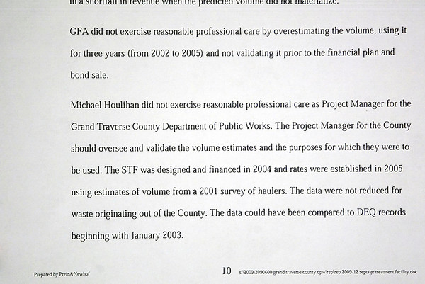 Record-Eagle/Jan-Michael Stump<br /> An independent review of Grand Traverse County's septage treatment plant found its project manager and design engineers failed to use reasonable professional care in planning its size and financing.
