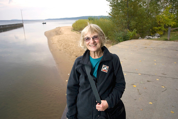 Record-Eagle/Keith King<br /> Ann Rogers stands where the Boardman River flows into West Grand Traverse Bay in Traverse City.
