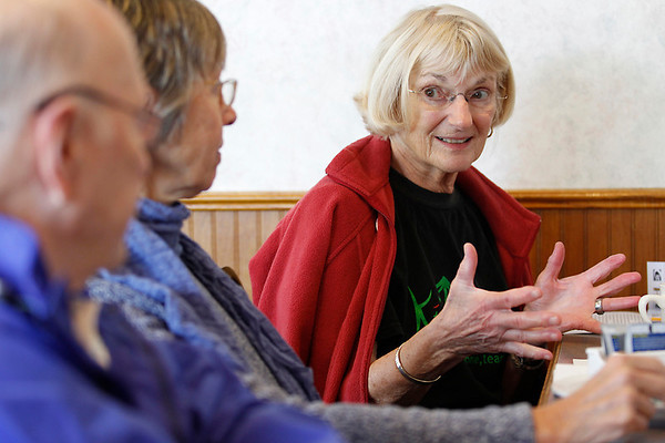 Record-Eagle/Jan-Michael Stump<br /> Ann Rogers attends a weekly meeting of Mabel's Peace Table, a group that meets each Wednesday to discuss various world peace topics.