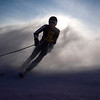 Record-Eagle/Jan-Michael Stump<br /> Traverse City Central's Clark Phelps finishes his second slalom run in the Titan Invite Thursday at Crystal Mountain.