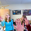 Record-Eagle/Jan-Michael Stump<br /> Hannah Schnack, left, Alison Skeels, Monya Bransky and Rowan Stringer work on a tower with Alexis Zywicki (not pictured).